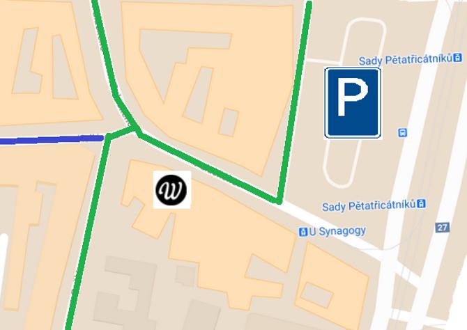 Mapa parkování u pensionu Wallis
